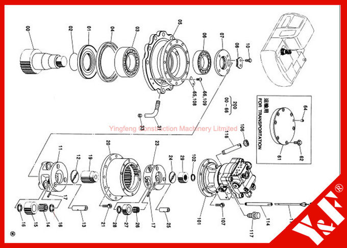 High Precision Jcb Js220 Track Excavator Gearbox Assembly